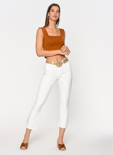 Loves You Yüksek Bel Yarı İspanyol Jean Pantolon Beyaz